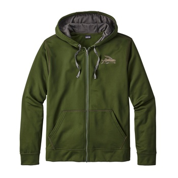 Patagonia Men's Small Flying Fish PolyCycle® Full Zip Hoody Glades Green