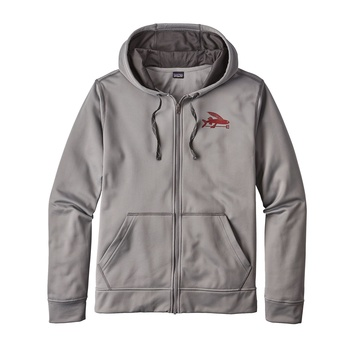 Patagonia Men's Small Flying Fish PolyCycle® Full Zip Hoody Feather Grey