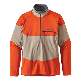 Patagonia Men's Long-Sleeved R1® Field 1/4-Zip El Cap Khaki / Orange