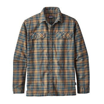 Patagonia Men's Long-Sleeved Fjord Flannel skjorta Salty Flats: Mojave Khaki