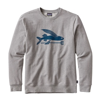 Patagonia Men's Flying Fish Midweight Crew Sweatshirt Feather Grey w/Big Sure Blue