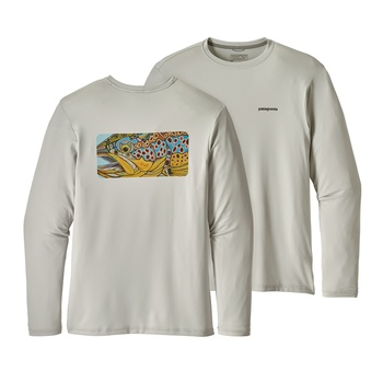 Patagonia Men's Graphic Tech Fish Tee Eye of Brown: Tailored Grey