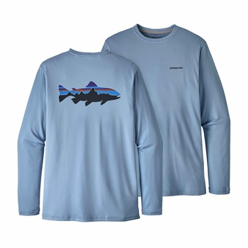 Patagonia Men's Graphic Tech Fish Tee Fitz Roy Trout: Railroad Blue