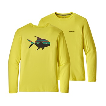 Patagonia Men's Graphic Tech Fish Tee Fitz Roy Permit: Spire Yellow