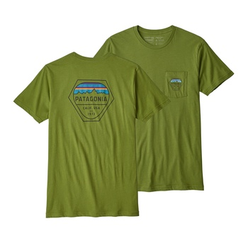 Patagonia Men's Fitz Roy Hex Organic Cotton Pocket T-Shirt Sprouted Green
