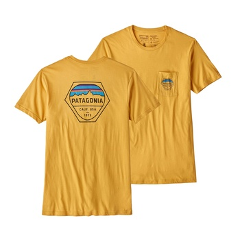 Patagonia Men's Fitz Roy Hex Organic Cotton Pocket T-Shirt  Yurt Yellow