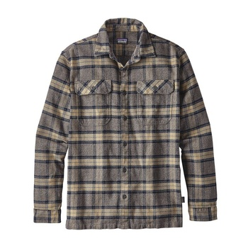 Patagonia Men's Long-Sleeved Fjord Flannel Shirt Migration Plaid: Forge Grey