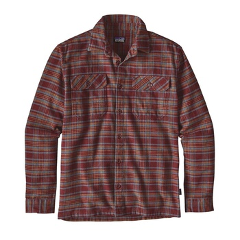 Patagonia Men's Long-Sleeved Fjord Flannel Shirt Salty Flats Dark Ruby