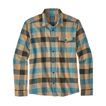 Patagonia Men's Long-Sleeved Lightweight Fjord Flannel Shirt Upriver Filter Blue