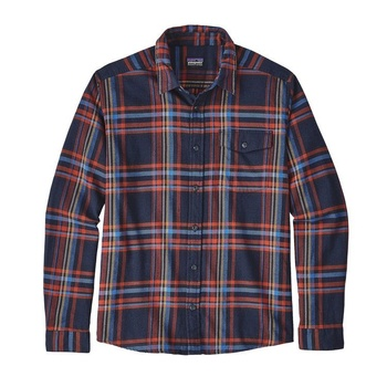 Patagonia Men's Long-Sleeved Lightweight Fjord Flannel Shirt Watershed: Navy Blue