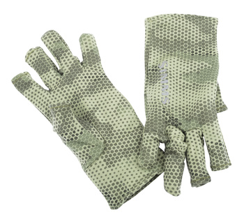 Simms Ultra-Wool Core 3-Finger Liner Hex Camo Loden