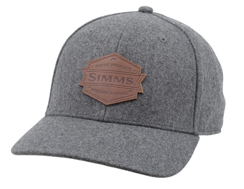 Simms Wool Leather Patch Cap Heather Grey