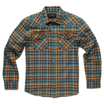 Howler Stockman Flannel Snapshirt Sabine Plaid: Sea Blue / Orange