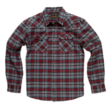 Howler Stockman Flannel Snapshirt Sabine Plaid: Heather Grey / Oxblood