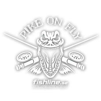 Fishline Pike on Fly sticker White