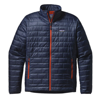 Patagonia M's Nano Puff Jacket Navy Blue W Paintbrush Red
