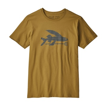 Patagonia Men's Flying Fish Organic Cotton T-Shirt Kastanos Brown w/High Seas