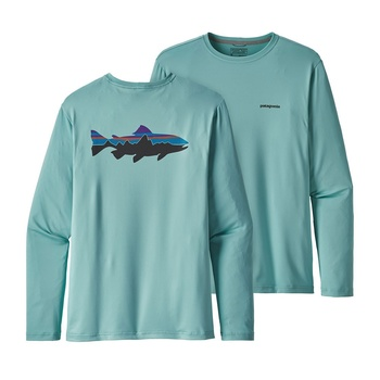 Patagonia Men's Graphic Tech Fish Tee Fitz Roy Trout: Dam Blue