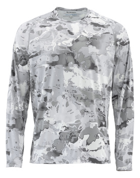 Simms Solarflex Crewneck Prints Cloud Camo Grey