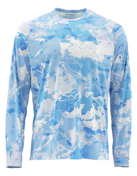 Simms Solarflex Crewneck Prints Cloud Camo Blue