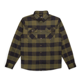 Hooke Canadian Flannel Shirt Military Green & Black Plaid