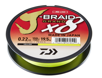Daiwa J-Braid X8 Grand Yellow Flätlina 135m