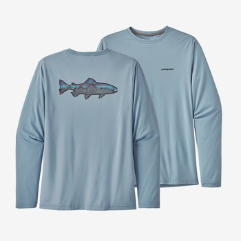 Patagonia Long Sleeve Cap Cool Trout Berlin Blue Shirt