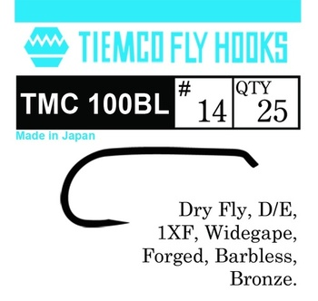 Tiemco 100BL Dry Fly Barbless 100-pack