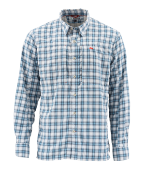 Simms BugStopper Shirt Plaid Faded Denim Plaid