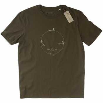 PODSOL T-Shirt Fly Cycle Organic Cotton British Khaki