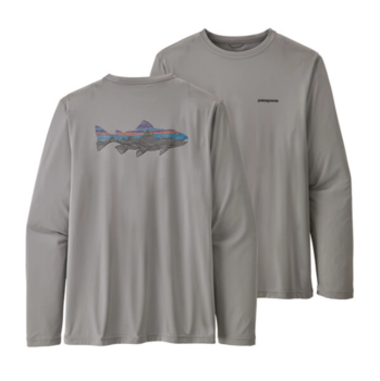 Patagonia Long Sleeve Cool Daily Fish Graphic Woodgrain Fitz Roy Trout: Salt Grey