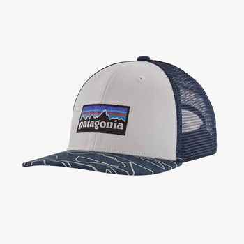 Patagonia Kids Trucker Hat Keps Barn White w/Bartolome Small: Stone Blue