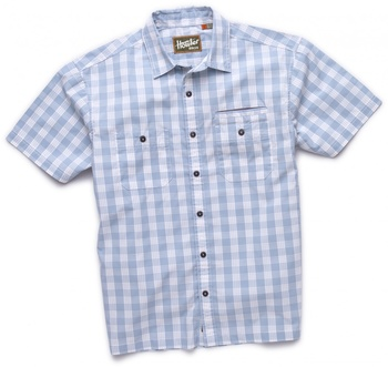 Howler Bros Aransas Short Sleeve Palaka Plaid Misty Blue