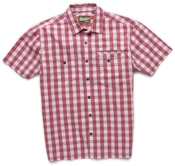 Howler Bros Aransas Short Sleeve Palaka Plaid Fiesta Red