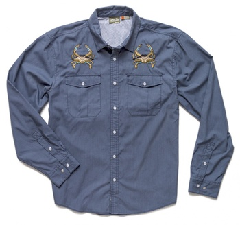 Howler Bros Gaucho Snapshirt Midnight Blue Crab