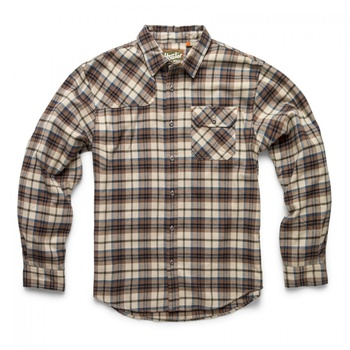 Howler Bros Harker's Flanell Sabine Plaid: Brown/Tan
