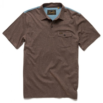 Howler Bros Ranchero Polo Cocoa Heather with Navy/Yellow Yoke