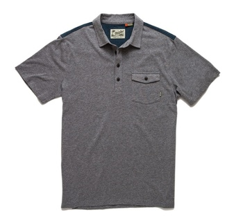 Howler Bros Ranchero Polo Atlantic Heather w/ Navy / Orange Yoke