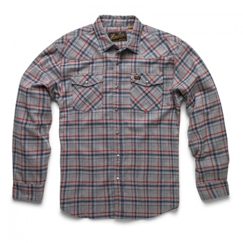 Howler Bros Stockman Flannel Shirt- Framer Plaid: Grey/Blue/Red