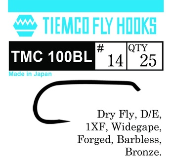 Tiemco 100BL Dry Fly Barbless 20-pack