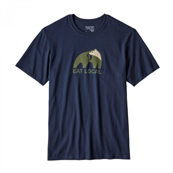 Patagonia Men's Eat Local Upstream Cotton Navy Blue T-Shirt